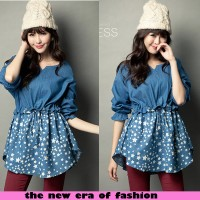 harga |ftn| Best Seller Blouse Wanita Katun Denim Biru (blus Starling Cr) Tokopedia.com