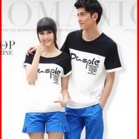 harga  ftn  Couple Baju Combed Putih Hitam (cp T-shirt Pusple Pendek Cl) Tokopedia.com
