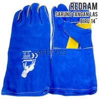 RedRam Sarung Tangan Kulit Las Kerja Gloves Biru Bagus 14 inch inci