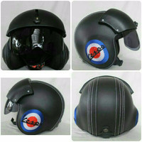 Helm Pilot Kulit Kostrad Hitam Tulisan Vespa-Keren-Gaul