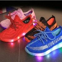 Jual (BONUS KAOS KAKI) Sepatu LED KNIT SHOES 580 SPORT (21-35)AP Murah