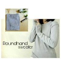 Jual V Sweater Round Hand Grey Murah