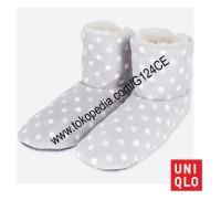 SANDAL RUMAH WANITA UNIQLO FLEECE Room Shoes Polkadot 402795 gray 03