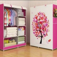 BESAR Lemari Pakaian Kain Pink Tree/ Multifunction Wardrobe Cloth Rack