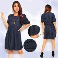 [Dress Nona SW] dress wanita super denim biru tua