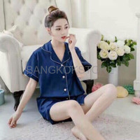 HOT ITEM Piyama Baju Tidur Wanita Silk Satin B1602 Kancing High Quali