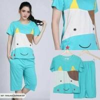 Baju Tidur Lengan Celana Pendek - Piyama Sleepwear Lucu- Sapi Moo Blue
