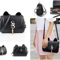 tas selempang satchel postman hitam polos wanita kulit tebal kaku oren