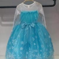 Baju Pesta Baju Dress Kostum Frozen Gambar Elsa dan Anna (Buntut Bisa