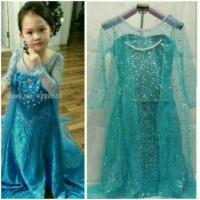 Baju Pesta Dress Baju Frozen Elsa Premium Glitter Full Payet