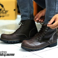 SEPATU  BOOTS SAFETY KULIT ORIGINAL  WOLF FOOTWEAR  - PITBUL BROWN