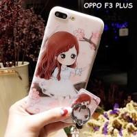 Case Handphone Unik Dan Lucu FOR OPPO F3 PLUS - BEAUTY GIRL WITH STAND