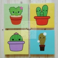 Jual Poster kayu wall decor Cute Cacti Murah