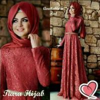 Harga baju muslimah hijab maxi longdress gamis brukat brokat red set 3 in | antitipu.com