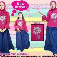 Setelan Hijab Anak Perempuan Hiasan Bunga Bordir (Size 6-11th)