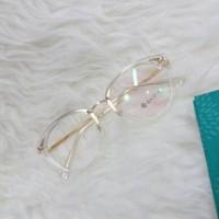 frame kacamata bulat bening plastik kombinasi stainless