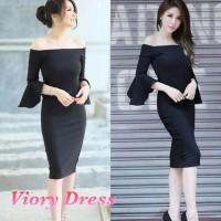 Jual Viory Dress   Blouse Sabrina Hitam Atasan Wanita   Tangan Terompet Murah