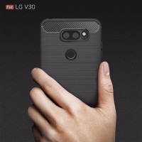 For LG V30 Case Carbon Fiber Design Soft TPU Back Phone Cases - BLACK