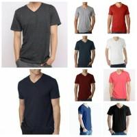 Jual Kaos Oblong Polos Lengan Pendek V-Neck Unisex T-Shirt Murah