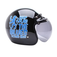 WTO Helmet Retro Bogo The Blues Helm Half Face - Hitam Biru
