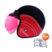 WTO Helmet Retro Bogo Classic Hitam Merah Helm Half Face-Free Jaring
