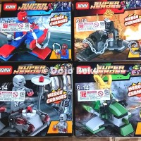 Lego Set Super Heroes (Spiderman Ghost Rider Loki Ultron) 4 Box