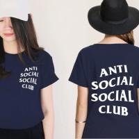 Jual Tumblr Tee / T-Shirt / Kaos Wanita Lengan Pendek Anti Social Navy Murah