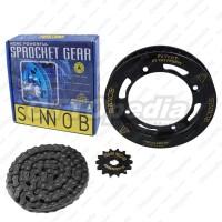 Chain Kit Gear Set Rantai Motor Sinnob Colour Chain Hitam KLX 150 S