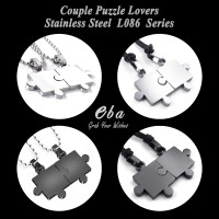 Kalung Liontin Couple (L086) - Lovers Stainless Steel Puzzle Necklace