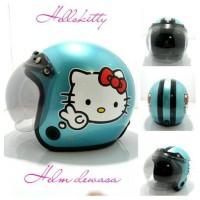 Helm Bogo Retro Klasik SNI MTR Hello Kitty Hijau