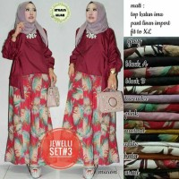Setelan Atasan Wanita Blouse cantik Baju Celana Kulot motif jewelli #3
