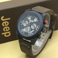 Jam Tangan Pria / Cowok Jeep Leather / Kulit Brown