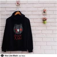 Jual Atasan Wanita Sweater Cewek Fleece Hitam Murah Terbaru Kiss Line Black Murah