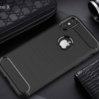 For Iphone X Case Carbon Fiber Design Soft TPU Back Phone Cases-BLACK