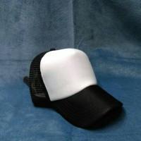 topi jaring polos kombinasi putih hitam