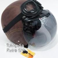 Helm Retro Bogo Import SNI Brownshade dengan Google Original Mantap