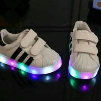 Jual Sepatu Anak Lampu Adidas Superstar Kids PREMIUM LED Black Hitam/Stripe Murah