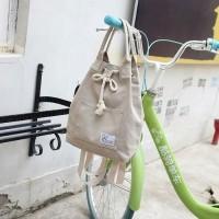 Jual Backpack Tas ransel serut kanvas wanita 2 way - tote bag canvas import Murah