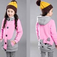 [Kid Hello Kitty Pink combi Abu LO] jaket anak perempuan babytery pink