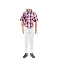 Barbie Doll Clothes Casual Clothing Set for Ken Red Check Top White