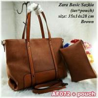 Tas wanita import Tas import ZARA tas kulit tas kerja / 072 BROWN ++