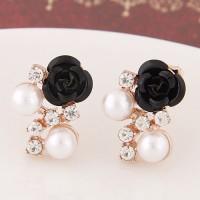 Anting Tusuk Sweet Black Diamond&rose Flower Decorated Simple A42507