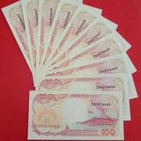 10 Lembar Uang Kuno Rp.100 Kapan Pinisi Tahun 1992