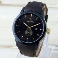 Jam Tangan Pria / Cowok Ripcurl Chrono Leather / Kulit Black