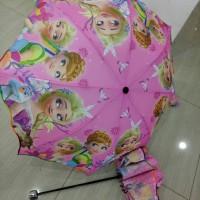 Jual Payung Lipat 3 Motif Karakter Hellokitty,  Frozen,  Barbie Murah