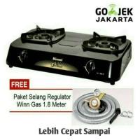 Kompor Gas 2 tungku Rinnai+Paket selang regulator Wingas/Rinnai murah