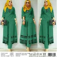 hijau biru pink coklat setelan muslim slit tunik blouse celana jogger