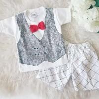Setelan Rompi Putih Size S Baju Stelan Pakaian Bayi Anak Murah Grosir