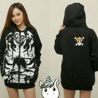 Jaket Anime One Piece (Luffy Gear 4) Hitam Sweater hoodie Onepiece Pd