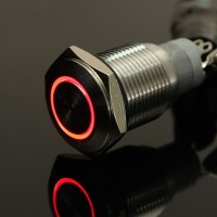 Dijual 16mm RED LED Momentary Push Button Metal Switch car boa T2709